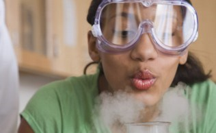 Workshop chemist girl smoke